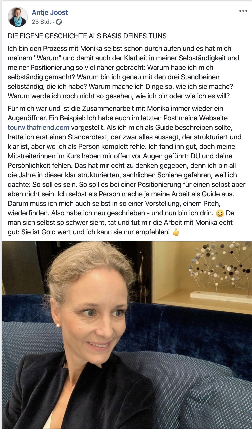 Zufriedene Kundin Testimonial Markenberatung Monika Frauendorfer